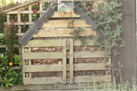 An elaborate home-made insect home in a garden we visited last year